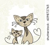 beautiful cats and pattern... | Shutterstock .eps vector #609872765