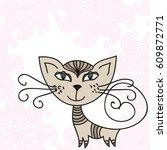 cute cartoon cat and beautiful...   Shutterstock .eps vector #609872771