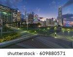 hong kong city a dusk | Shutterstock . vector #609880571
