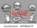 breakfast food and drink | Shutterstock .eps vector #609886619