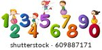 children and numbers one to... | Shutterstock .eps vector #609887171