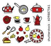 kitchen accessories  pot ... | Shutterstock .eps vector #609887561