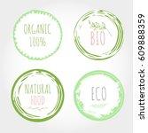 set of green organic labels... | Shutterstock .eps vector #609888359