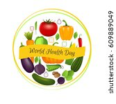 world health day concept with... | Shutterstock .eps vector #609889049