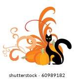black cat and orange pumpkin | Shutterstock .eps vector #60989182
