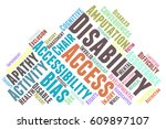 disability word cloud typography | Shutterstock .eps vector #609897107
