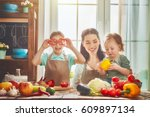 healthy food at home. happy... | Shutterstock . vector #609897134