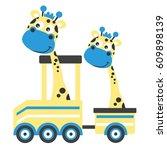 cartoon giraffe on a train...   Shutterstock .eps vector #609898139