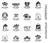pet shop food and toys signs... | Shutterstock .eps vector #609899561