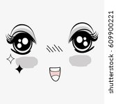 anime surprised happy face woman | Shutterstock .eps vector #609900221
