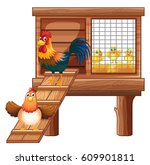 Chicken And Chicks In Coop...