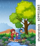 three kids running in rain... | Shutterstock .eps vector #609901865