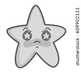 grayscale kawaii angry star...   Shutterstock .eps vector #609902111