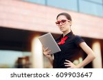 businesswoman with pc tablet... | Shutterstock . vector #609903647