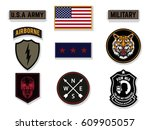 set of army badge typography  t ... | Shutterstock .eps vector #609905057
