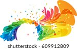abstract colored splash round... | Shutterstock .eps vector #609912809