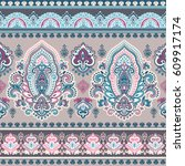 beautiful indian floral paisley ... | Shutterstock .eps vector #609917174