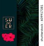 summer dark background with... | Shutterstock .eps vector #609917381