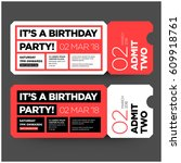 birthday party invitation in... | Shutterstock .eps vector #609918761