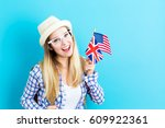 young woman with flags of... | Shutterstock . vector #609922361