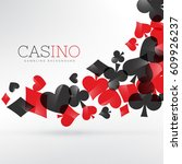 casino playing cards symbols... | Shutterstock .eps vector #609926237