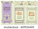 vector flowers vintage labels... | Shutterstock .eps vector #609926405