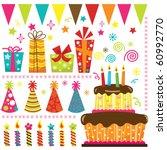 retro birthday celebration... | Shutterstock .eps vector #60992770
