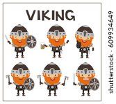 set vikings in cartoon style....   Shutterstock .eps vector #609934649