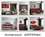 collage of modern home red... | Shutterstock . vector #609939464