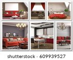 collage of modern home red... | Shutterstock . vector #609939527