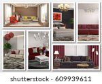 collage of modern home red... | Shutterstock . vector #609939611
