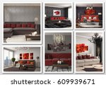 collage of modern home red... | Shutterstock . vector #609939671
