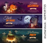 halloween banners with the... | Shutterstock .eps vector #609939755