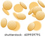 cracker biscuit seamless... | Shutterstock .eps vector #609939791