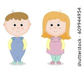 infants. a boy and a girl.... | Shutterstock .eps vector #609944954