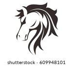 Stock vector horse head line art drawing illustration 609948101