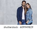 the beautiful people in jeans... | Shutterstock . vector #609949829