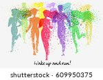 running people. fitness... | Shutterstock .eps vector #609950375