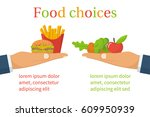 food choice. healthy and junk... | Shutterstock .eps vector #609950939