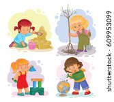 a set of icons of small girls... | Shutterstock . vector #609953099