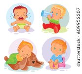 set of icons of toddlers  ... | Shutterstock . vector #609953207