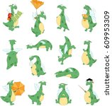 Funny Cartoon Green Dragon Set...