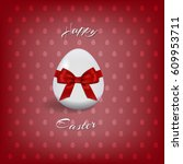 happy easter text and easter... | Shutterstock . vector #609953711