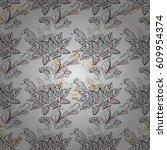 seamless pattern on gray... | Shutterstock . vector #609954374
