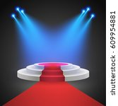 red carpet with round podium.... | Shutterstock .eps vector #609954881
