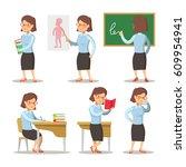 teacher cartoon character set....   Shutterstock .eps vector #609954941
