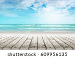 old wood table top on blurred... | Shutterstock . vector #609956135