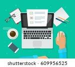 online form survey on laptop...   Shutterstock . vector #609956525
