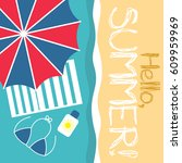 summer hello beach vector flat... | Shutterstock .eps vector #609959969