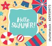 summer hello beach vector flat...   Shutterstock .eps vector #609959975